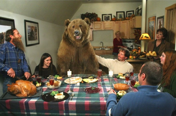 Thanksgiving dinner with a bear